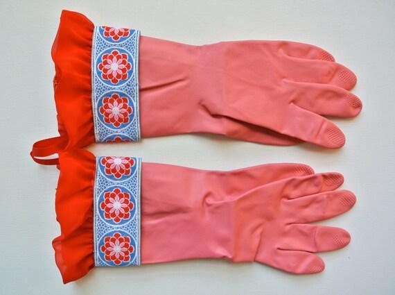 Designer Rubber Dish Gloves - Pink, Red Flower, Ruffle - Medium