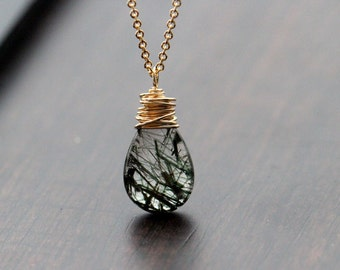 Rutilated Quartz Necklace , Gold Filled Jewelry , Green Gemstone Pendant , Modern Necklace  - Botany