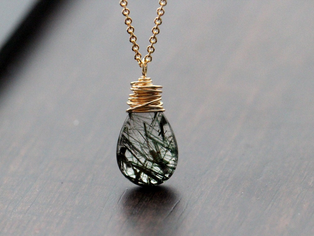 Rutilated quartz necklace gold filled jewelry forest green for Gold filled jewelry