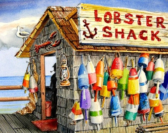 Buoys and the Lobster Shack Watercolor Maine New England Coastal Beach Decor print by Barry Singer
