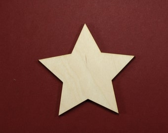 Star Shape Unfinished Wood Laser Cut Shapes Crafts Variety of Sizes