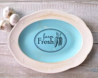 Vintage Farm Sign // Farmhouse Kitchen // Cottage Kitchen // Rustic Sign // White Blue Kitchen Decor // Carrots