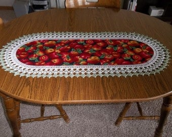 Table Runner, Red Apples, Fabric Table Runner, Best Doilies, Crocheted Edge, Centerpiece, Table Cloth, Table Topper, Dresser Scarf, Gift