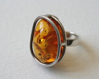 Vintage Silver Amber Cocktail Ring