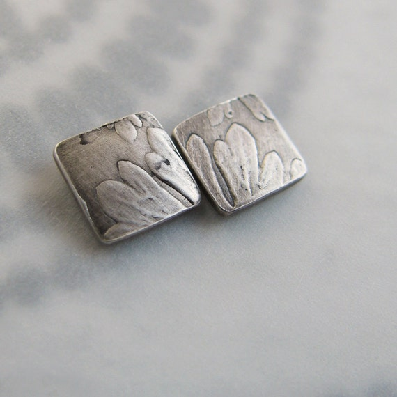 Post Earrings Petite Carolina Cranesbill Leaf Botanical Fine Silver Sterling Rustic Nature
