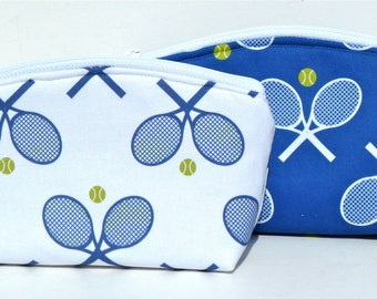 Tennis - Blue and White - Makeup Bag - Zippered Pouch - Padded Pouch - Flat Bottom - Handmade - Tennis Team Gifts - Tennis Bag