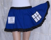 Doctor Blue Police Box Embroidered Pocket Circle Skirt Adult ALL Sizes - MTCoffinz