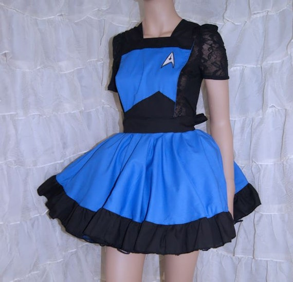 blue starfleet insignia pinafore apron costume skirt adult all. Black Bedroom Furniture Sets. Home Design Ideas