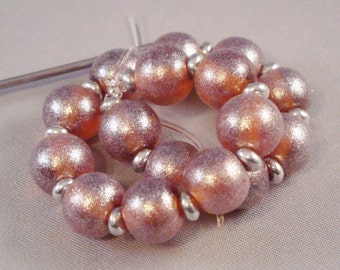 Sparkle Frosted Amber Set of Round Lampwork Glass Beads for Jewelry by Solaris Beads 1932