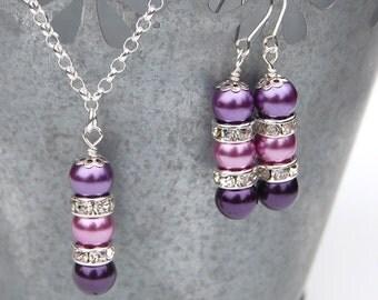 Bridesmaid Jewelry Set, Purple Pearl Rhinestone Necklace and Earrings Set, Custom Colors, Bridesmaid Gifts