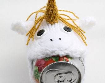 Unicorn Cozy, Geeky. Soda Can Cozy, Gift for Teacher, Gift for Student, Friends, Gift for Boyfriend, Beer Cozy, Sport Drink, Knitted, Unique
