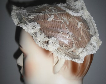 Vintage Bridal Headpiece Tape Lace 1930s or 1940s Vintage Headpiece for your Vintage Wedding