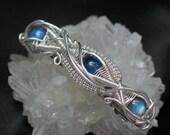 Labradorite & Kyanite Barrette Hair Jewelry, Wire Wrapped Jewelry Handmade