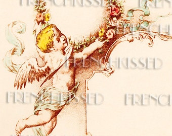 Art Nouveau Cherub French Menu with Mademoiselle Calligraphy Digital Printable