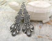 Long silver earrings dangle earrings Art Nouveau earrings Silver jewelry gift under 20