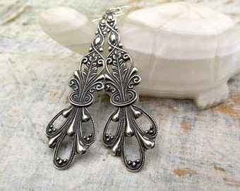 Long silver earrings dangle earrings Art Nouveau earrings Silver jewelry gift under 20