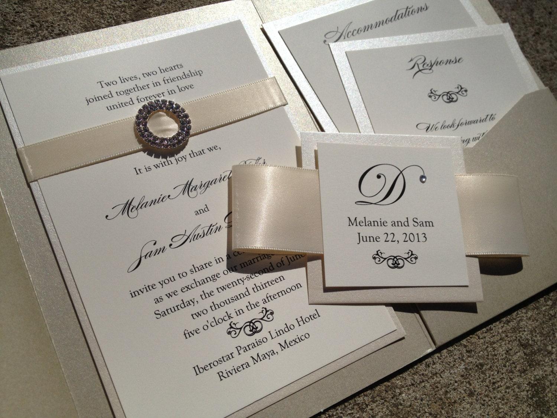 Wedding Invitations Elegant: Cream Pocket Invitation, Opulence Wedding Invitation