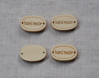 12 pcs+ Zakka Tiny Handmade Wooden Tags/Buttons