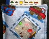 I Spy Bag - Mini with SEWN Word List and Detachable PICTURE LIST- Mighty Machines Blue