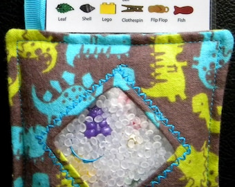 I Spy Bag - Mini with SEWN Word List and Detachable PICTURE LIST- Dinosaur Roar Brown