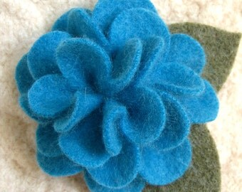 Parrot Blue Peony Brooch - Eco Friendly Cashmere Flower Pin