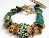 Gemstone and Bronze Bracelet, A Mixed Metal, Beaded Bracelet Featuring Boro Glass, Bronze PMC, Chrysocolla, Green Tourmaline - Telluride