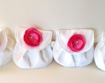 Set of 4 Ready to Ship WEDDING CLUTCHES, WRISTLETS - bridesmaids - pink and white weddings