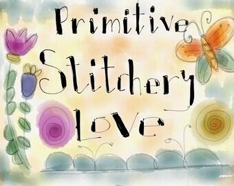 Primitive stitchery love workshop corso on line italian language, IN ITALIANO prezzo speciale!