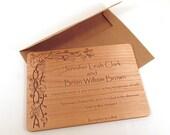Grapevine Wooden Wedding Invitation