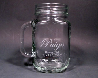 Personalized Etched Mason Jar with Handle