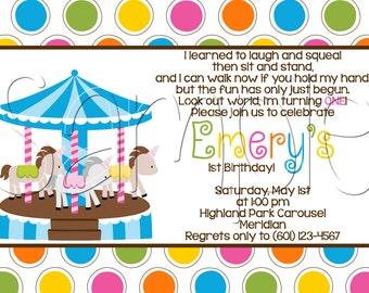 Custom Printable Carousel Birthday Party Invitation