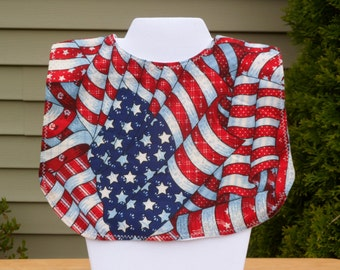 Handmade Baby Bib - American Flag - Time for the Summer Holidays