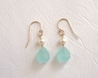 Aqua and pearl earrings