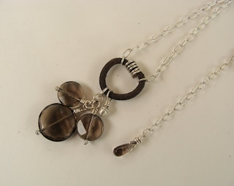 Reduced Smokey Quarts Sterling Silver Leather Handcrafted Necklace