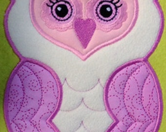 Owl Applique Machine Embroidery File Instant Download