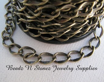 SPOOL - Antique Brass 6mmx8.8mm Hammered Curb Chain