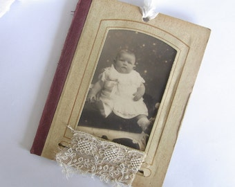 Vintage Photo in frame Gift Tag Card Ornament - baby