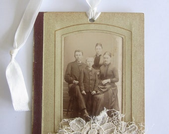 Vintage Photo in frame Gift Tag Card Ornament - Family