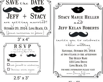 Fun Mustache and Lips Wedding invitation Rubber Stamp SET with save the date, Invitation, and RSVP stamp