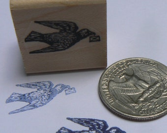 miniature dove, pigeon with message rubber stamp WM P12