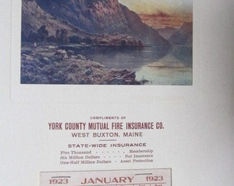 Vintage 1923 West Buxton,Maine Ad Calendar, Scotch Highlands