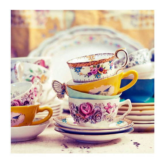 Still Life Photograph, Tea Party 5x5 Print, Shabby Chic Photo, Vintage Teacups Photo, Yellow, Charming Cottage Photography
