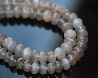 1/2 strand grey moonstone faceted  roundeles