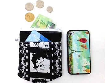 ON SALE Zipper Coin Purse Pouch, iPhone Pouch - Betty Boop in Black and White