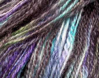 Handspun yarn, dark yarn, hand dyed wool, rare breed, wensleydale, hand painted, blue, black by SpinningStreak