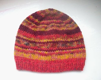 Unisex beanie hat multi yarn hand knitted Classic design Contemporary colours burgundy red mustard