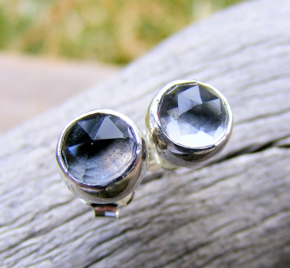 Crystal Quartz Studs, Crystal Gemstone Post Earrings, Sterling Silver, Gemstone Studs, Similar To Diamond Like Earrings,