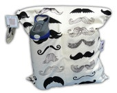 "HEAT SEALED and BEST Selling Wet Bags here -Small Wet/Dry Bag with Snap Handle -Heat Sealed-2 Pockets in I ""Mustache"" You a Question"