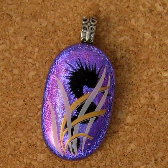 Dichroic Seahorse Pendant, Violet Purple Fused Glass Pendant