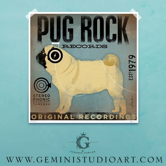PUG ROCK dog records album style graphic artwork giclee archival print by stephen fowler Pick A Size